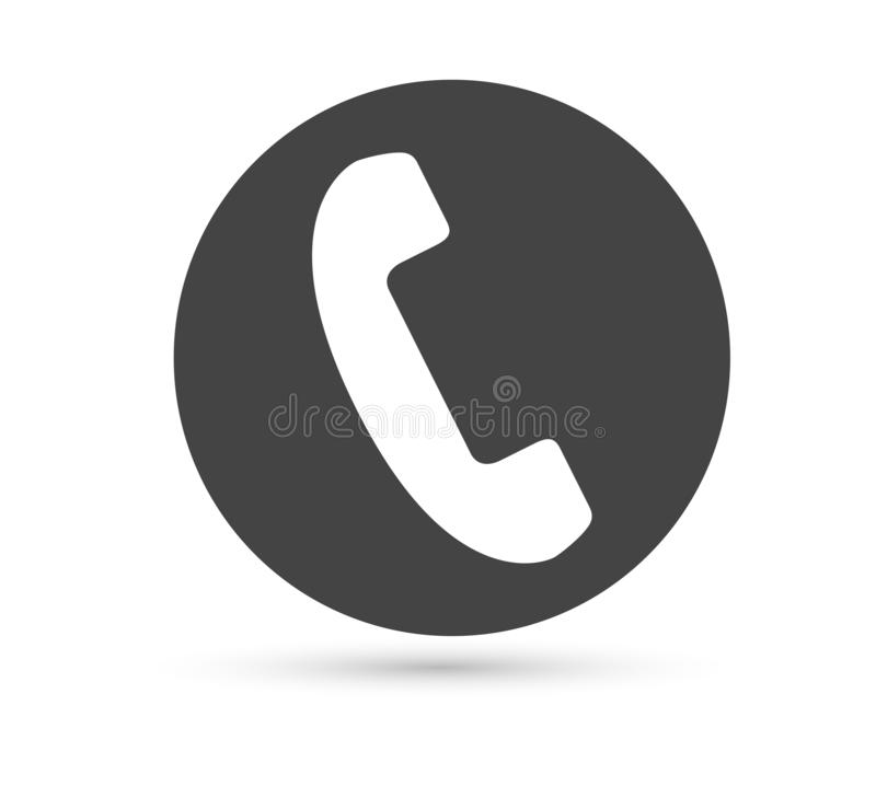 Phone vector icon vector flat style logo. Handset with shadow illustration. Easy editing of illustration. Smartphone, contact. royalty free illustration