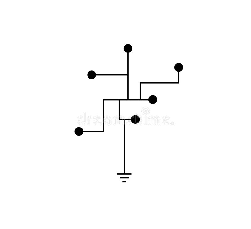 Circuit technology tree logo vector royalty free illustration