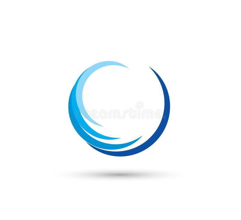 Circle swirl wave abstract logo vector stock illustration