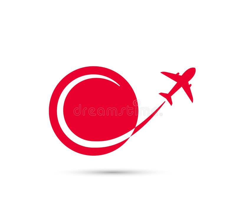 Airline Plane Flight Path icon. royalty free illustration