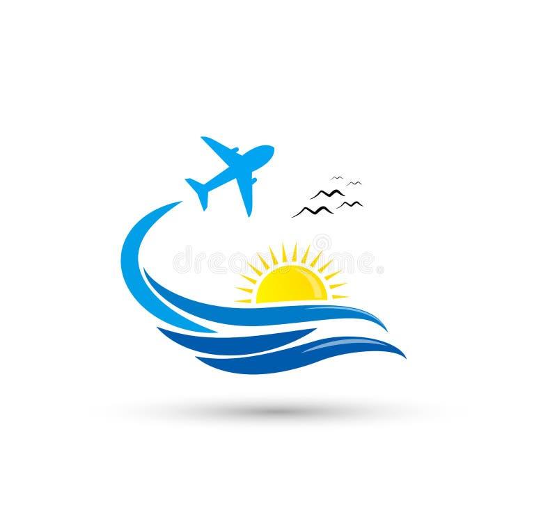 Plane flight summer business travel design vector icon. royalty free illustration