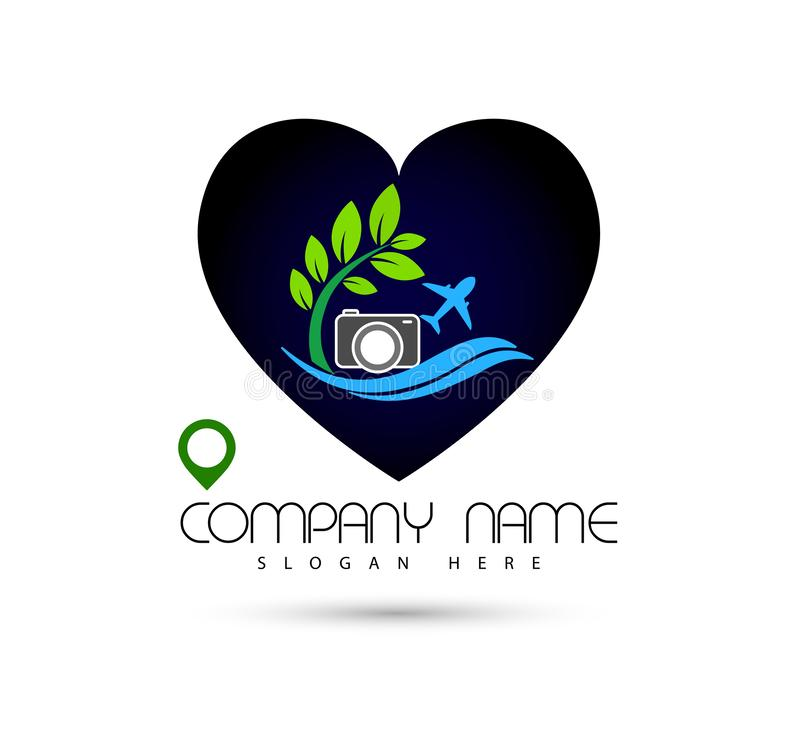 Hotel tourism sun holiday summer beach camera sea wave vector logo design concept symbol icon in heart shape on white background. vector illustration
