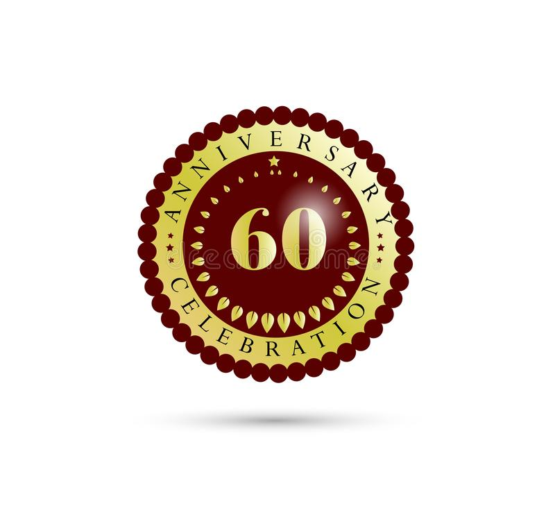60th Years anniversary Golden badge logo. vector illustration