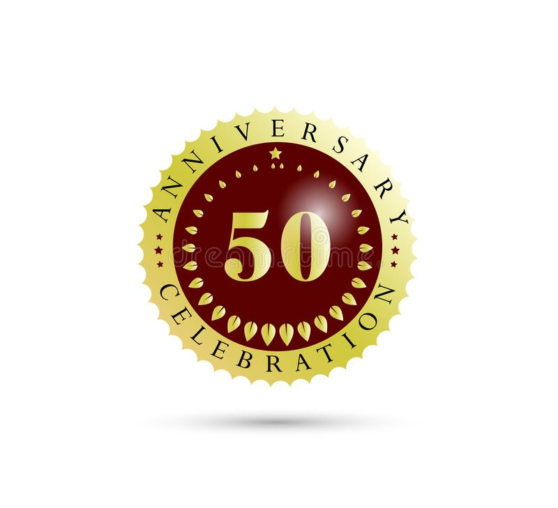 50th Years anniversary Golden badge logo. royalty free illustration
