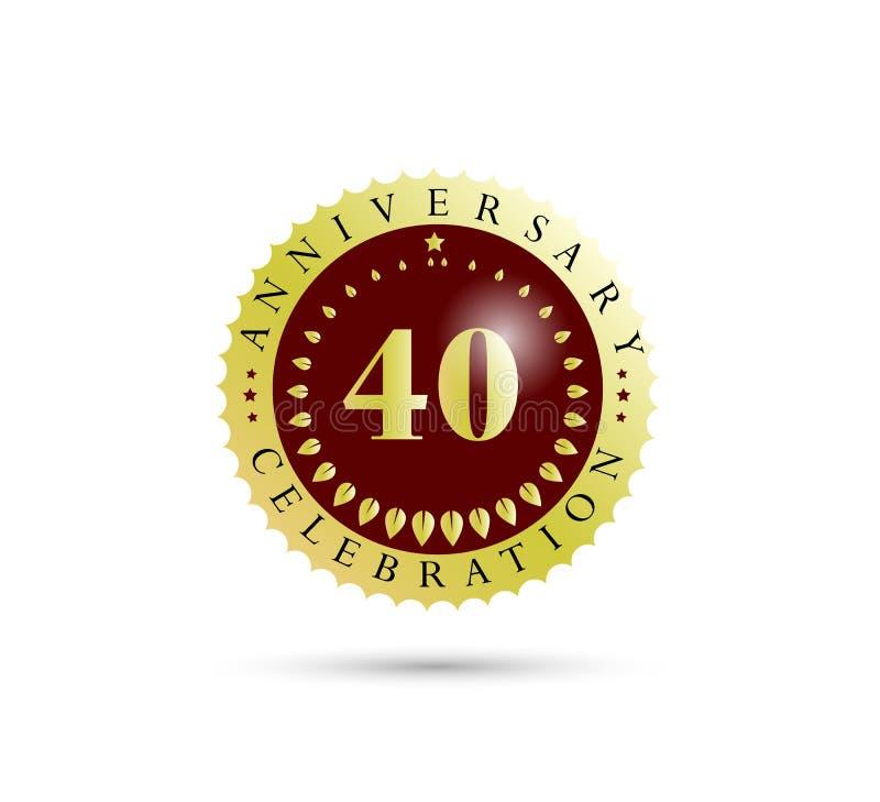 40th Years anniversary Golden badge logo. stock illustration