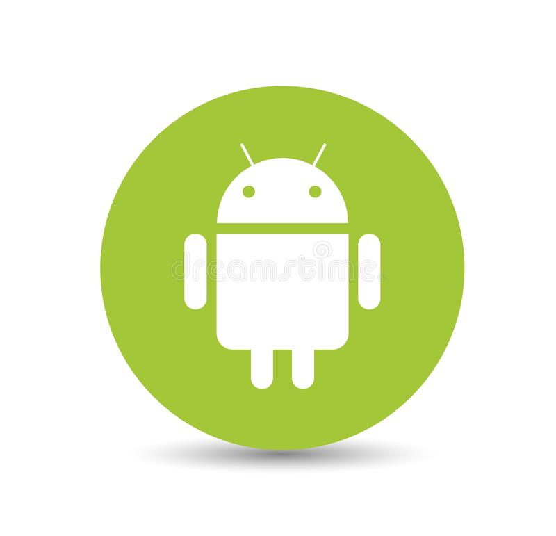 Android Logo. In a grey circle icon. vector format available illustrator AI cloud stock illustration