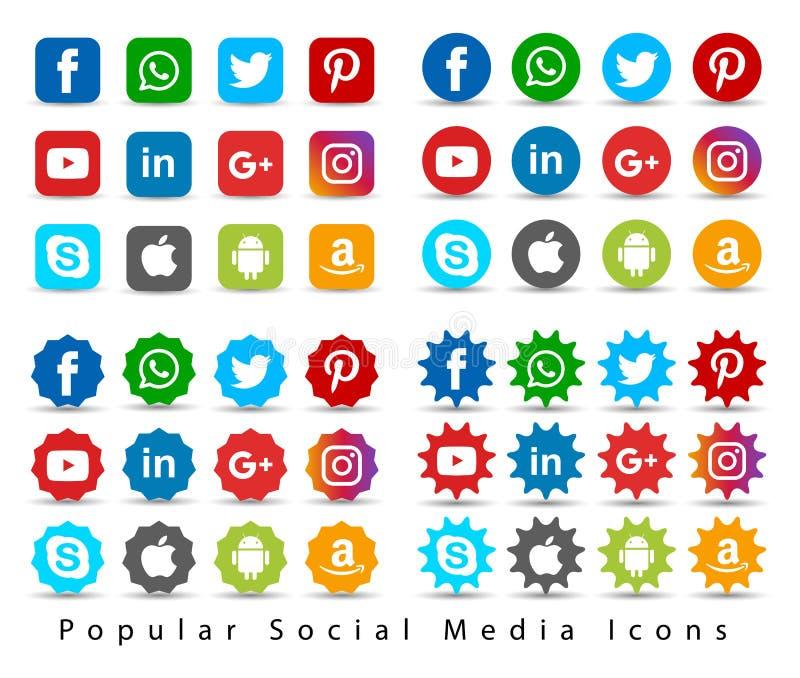 Popular social media icons. stock illustration