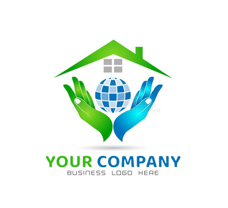 Globe holding hands icon family union, love care in hands logo stock illustration