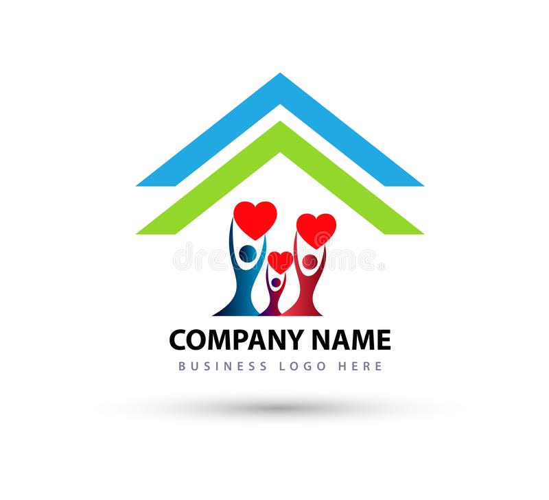 Happy Family in home house union logo lovely heart parent kids love parenting care symbol icon. Design vector on white background vector illustration
