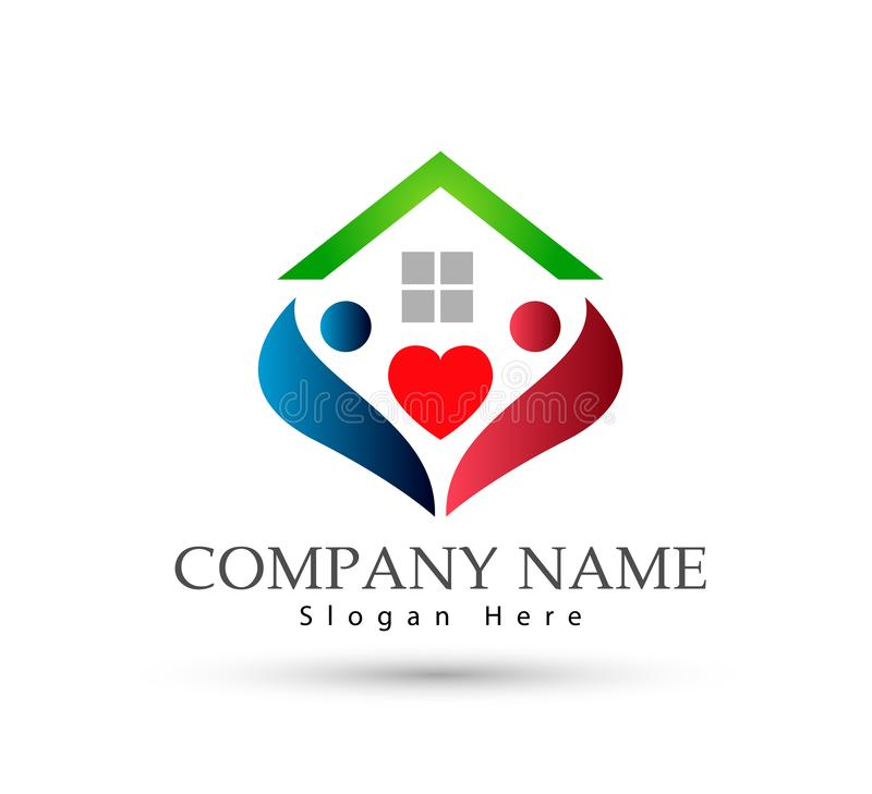 Happy Family in home house union logo lovely heart parent kids love parenting care symbol icon. Design vector on white background royalty free illustration
