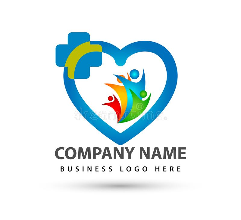 Happy Family union logo lovely heart parent kids love parenting care symbol icon. In white background royalty free illustration