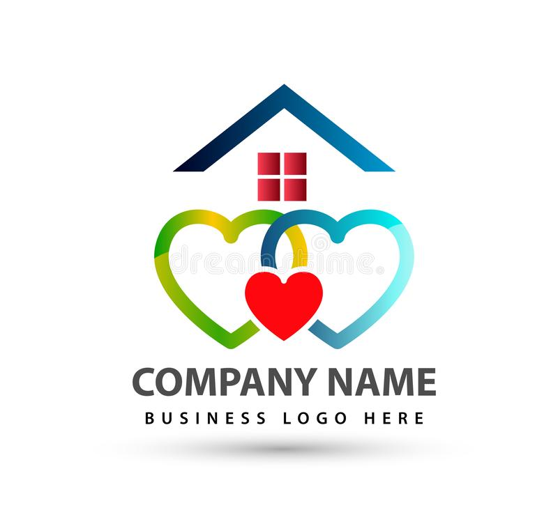 Home house union logo lovely heart parent kids love parenting care symbol icon. Design vector on white background vector illustration