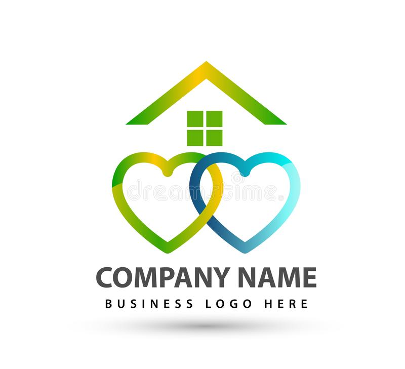 Home house union logo lovely heart parent kids love parenting care symbol icon. Design vector on white background royalty free illustration