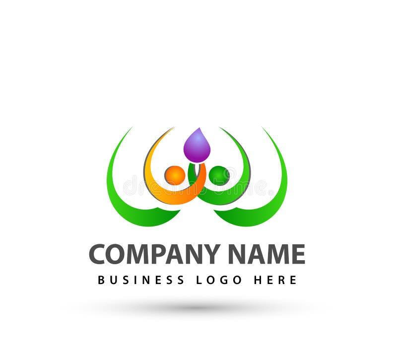 Teamwork Management People waterdrop  Group together new concept logo. vector illustration