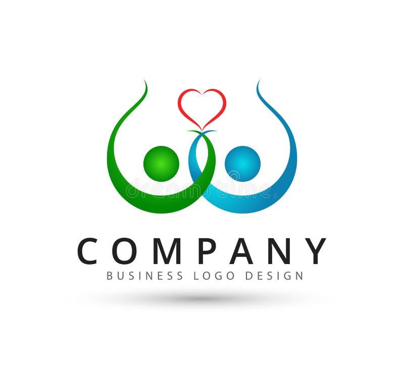 Teamwork Management People Group together health care globe new concept logo. stock illustration