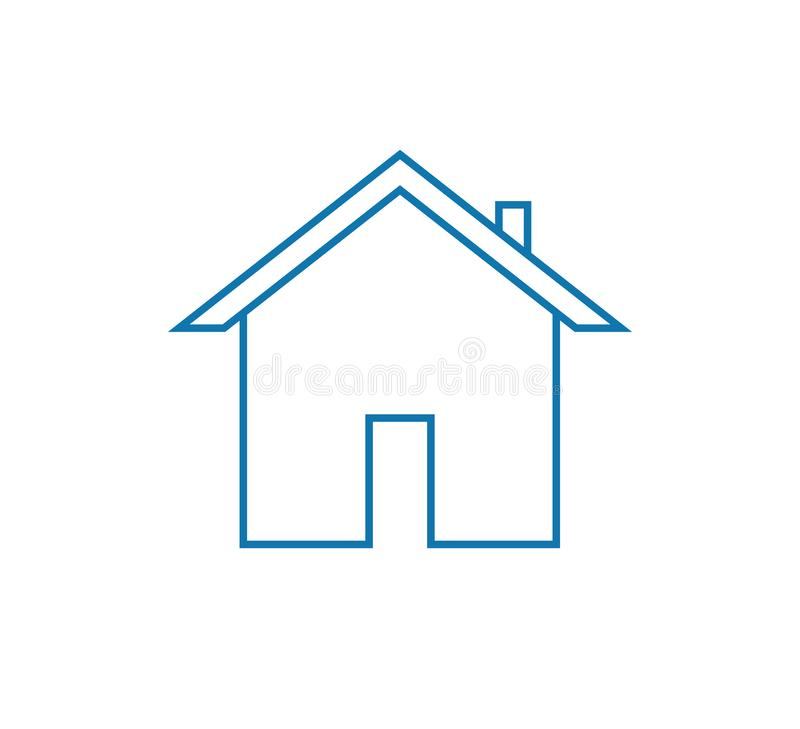 Home icon. Simple vector filled blue flat home or house line icon solid pictogram isolated on white background vector illustration