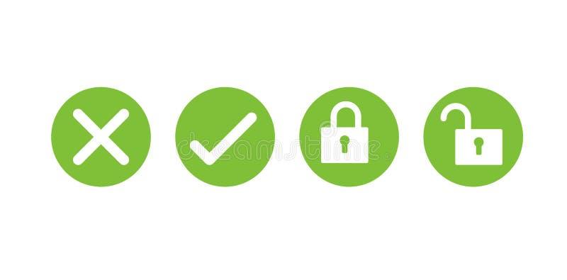 Tick cross Lock and Unlock icons royalty free illustration