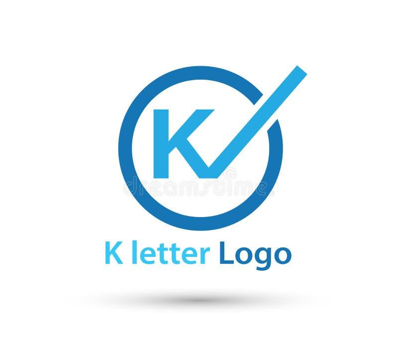 K Letter Logo Icon Design template Element in circle stock illustration