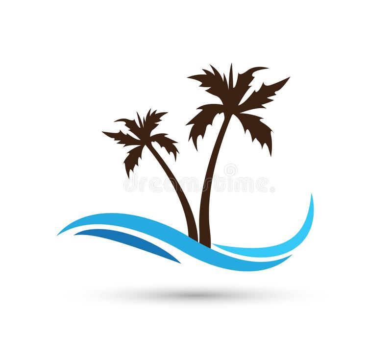 Water wave coconut tree sea waves Ocean beach logo Template vector Clean water drop concept logo icon sign on white background. Water wave with coconut tree sea stock illustration