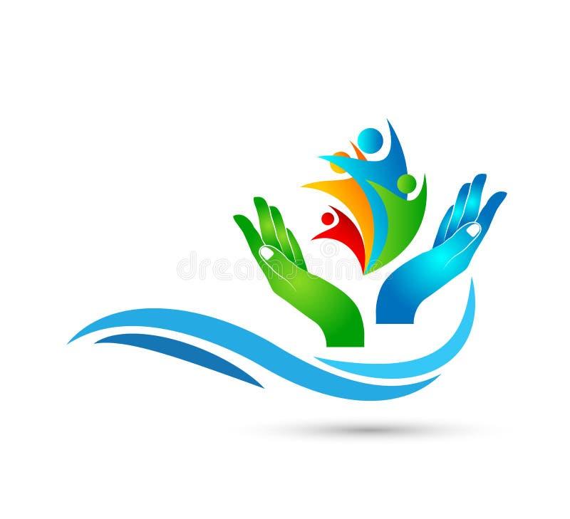 People union care globe family health concept logo icon element sign on white background. stock illustration
