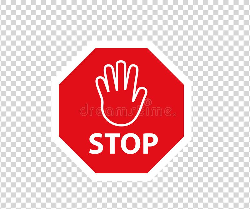 Stop road sign with hand gesture. New red do not enter traffic sign. Caution ban symbol direction sign. Warning stop signs. stock illustration