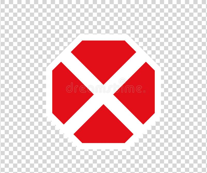 Stop cross road sign with hand gesture. New red do not enter traffic sign. Caution ban symbol direction sign. Warning stop signs. Stop road sign with hand stock illustration