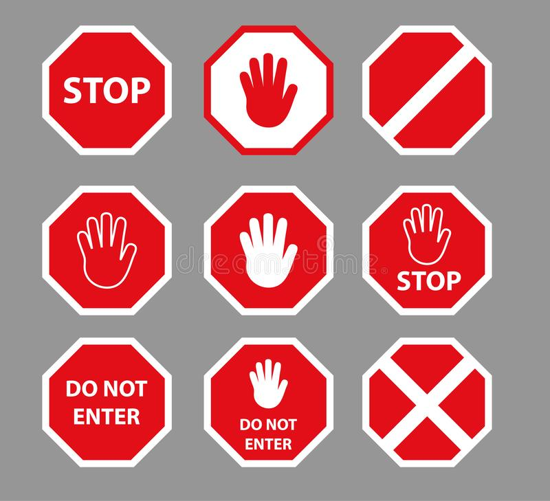 Set of stop road signs with hand gesture. Red do not enter traffic sign. Caution ban symbol direction sign. Warning stop signs. stock illustration