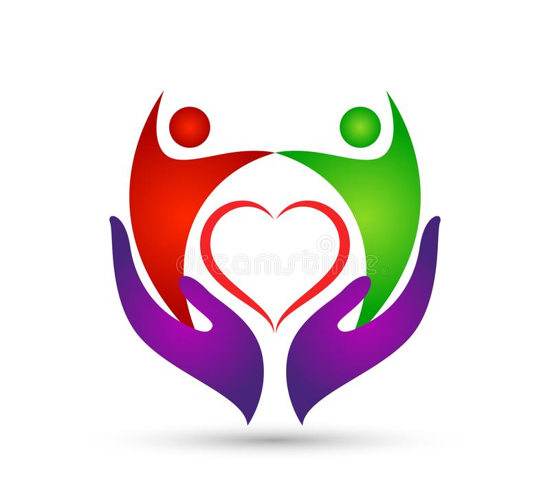 Family in happy union logo, family, parent, kids, red heart shaped love, parenting, care, symbol icon design vector icon logo. royalty free illustration