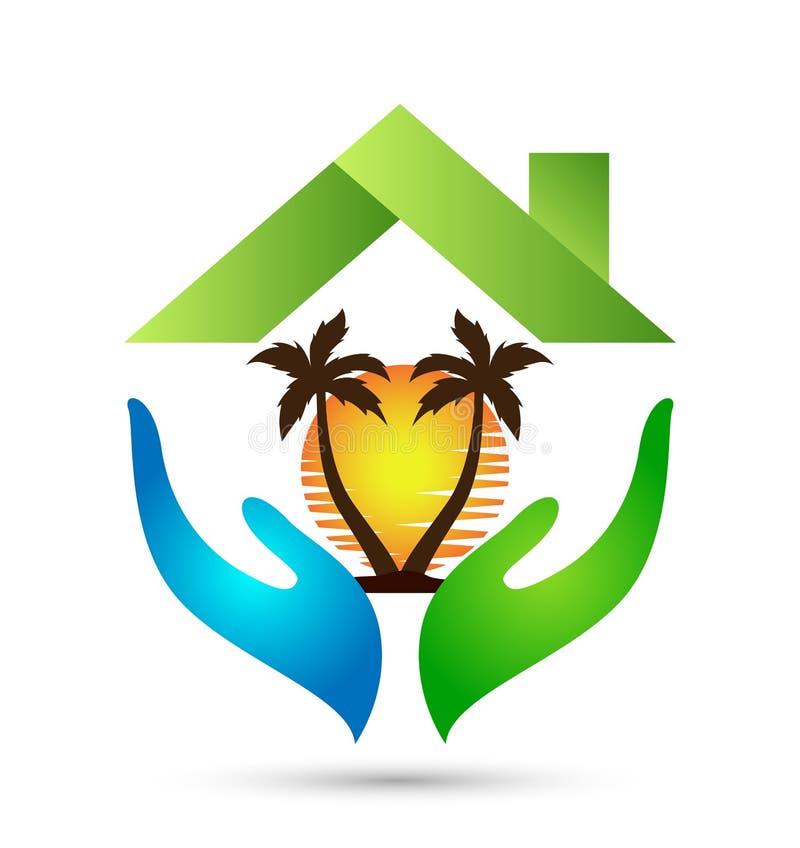 Hand home sundown coconut tree logo royalty free illustration