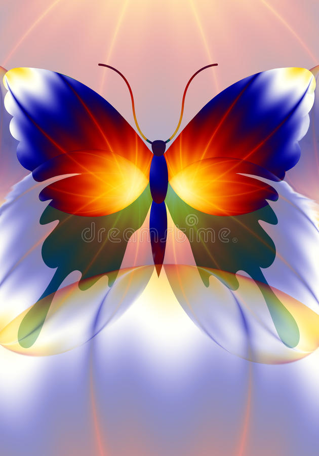 Dreamworld butterfly. Colorful mixed media design with a decorative butterfly stock illustration