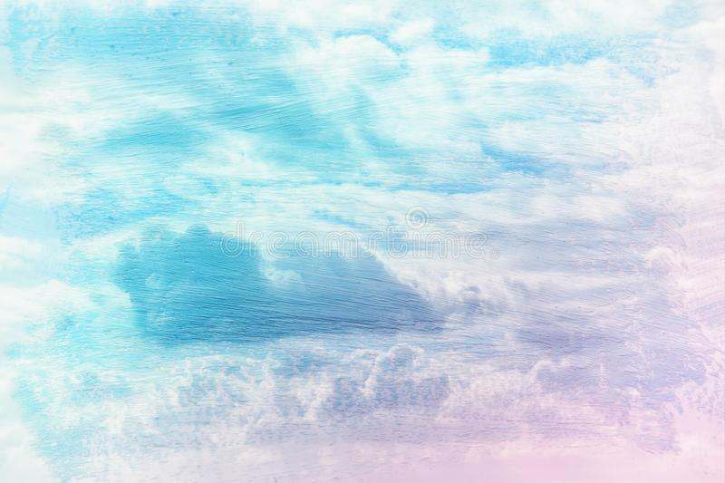 dreamy and abstract image of the blue sky with white clouds. double exposure effect with watercolor brush stroke texture. royalty free stock images
