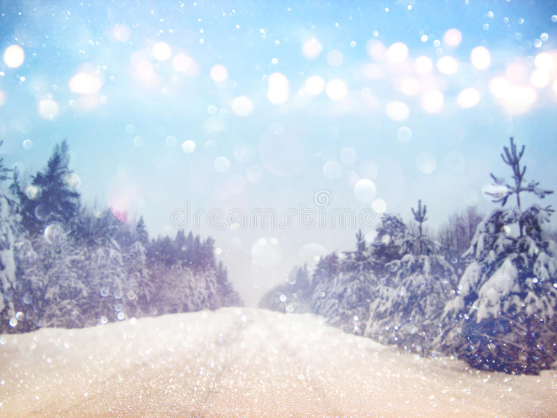 Dreamy and abstract magical winter landscape photo. Glitter overlay stock photos