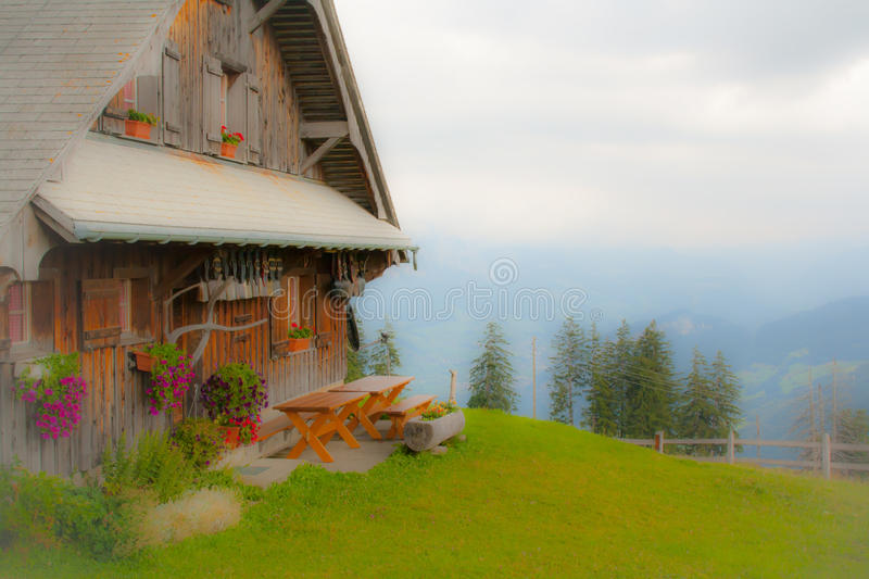 Dreamy chalet stock photos