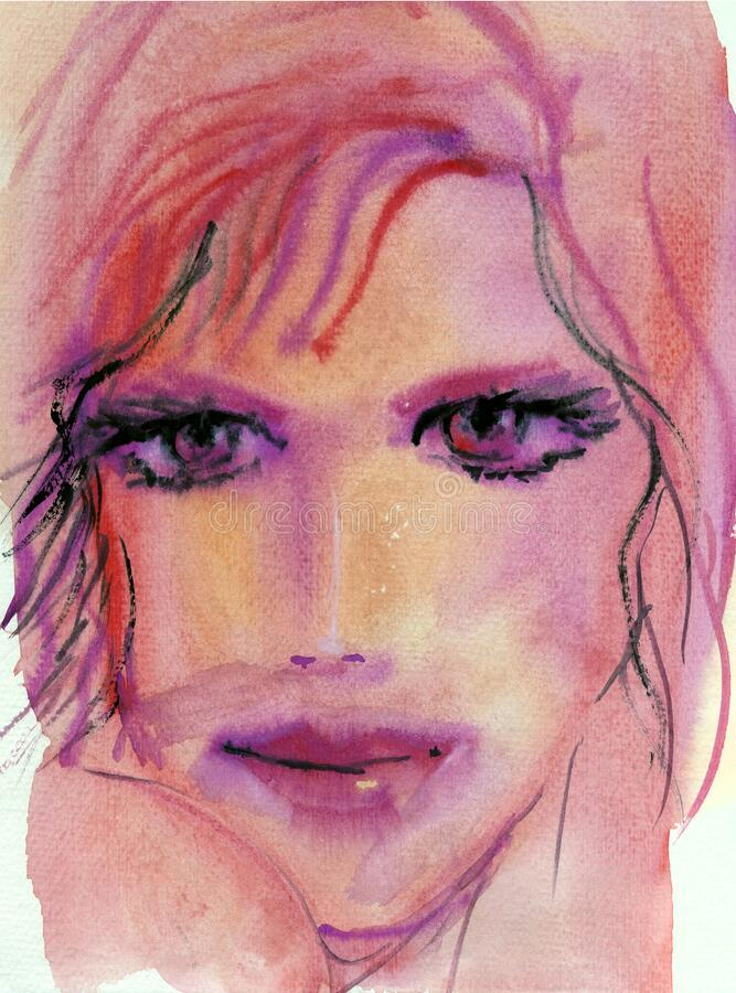 Dreamy Dramatic Watercolor Portrait of a Breautiful Model in Pink Tones royalty free stock image