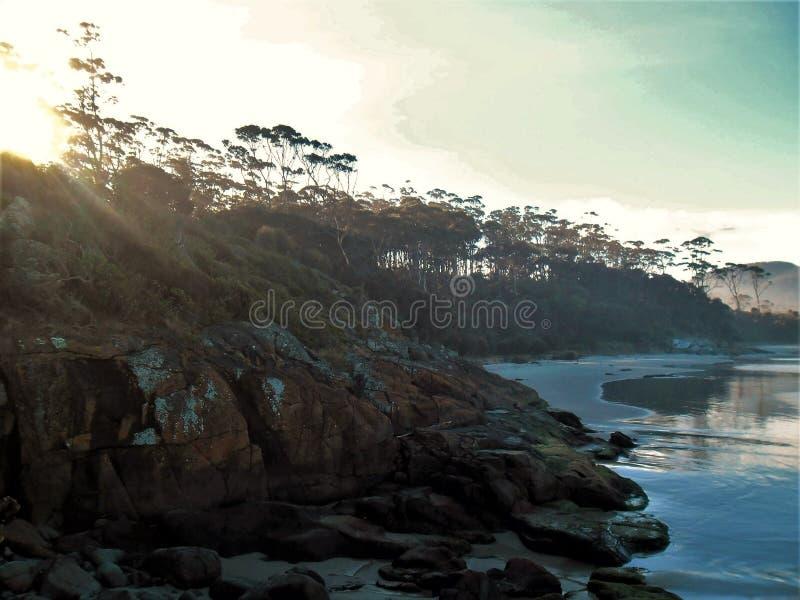Dreamy evening on the Tasmanian coast royalty free stock photo