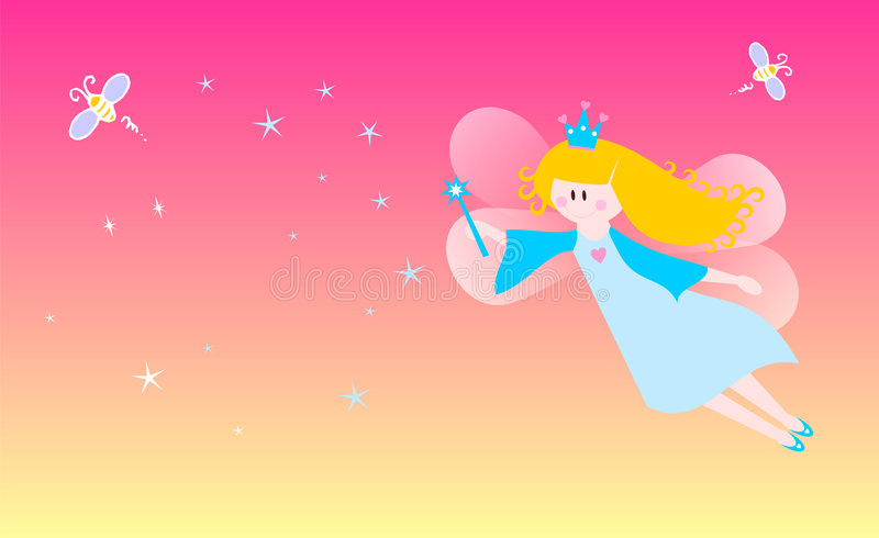 Dreamy fairy. Cute fairy over a starry background. Vector available stock illustration