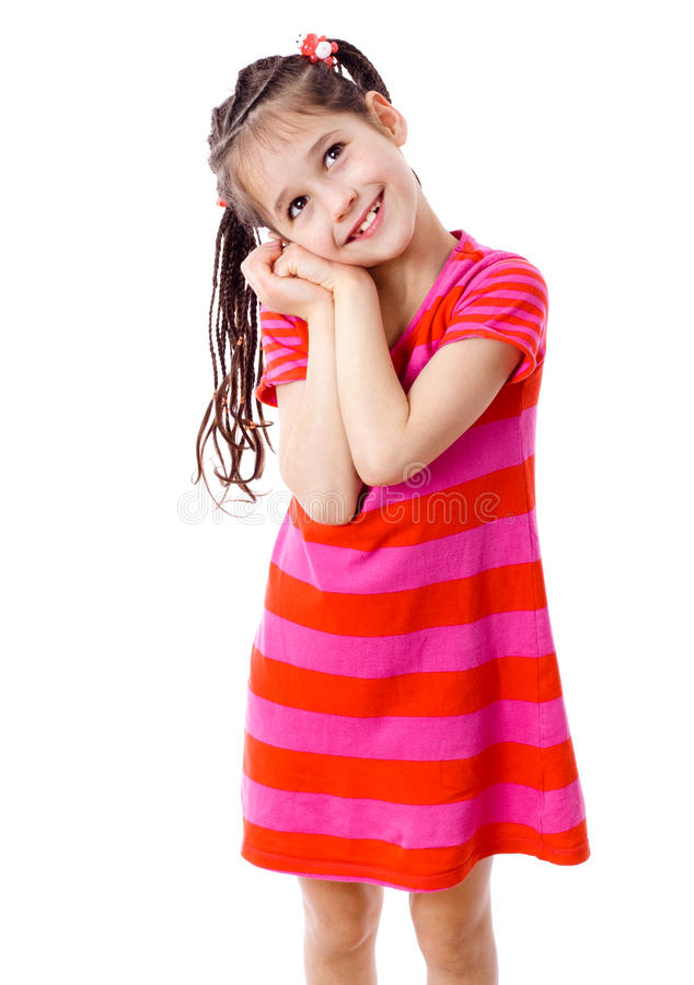 Dreamy girl in pink dress stock photo
