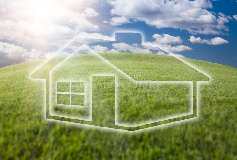 Download Dreamy House Icon Over Grass Field And Sky Stock Photo - Image: 14457786