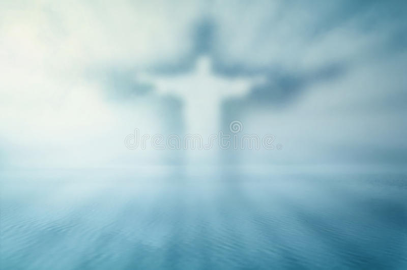 Dreamy Jesus theme. Dreamy graphics Christian theme with Jesus silhouette and shine over water surface vector illustration