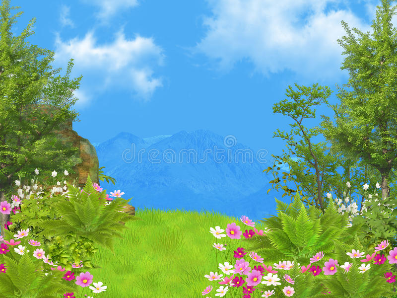 Download Dreamy landscape stock illustration. Image of sunny, fantasy - 24487468