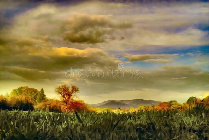 Dreamy landscape. Dreamy meadow and mountain landscape - illustration stock illustration