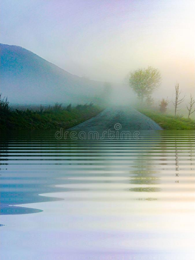 Dreamy landscape Abstract art painting water mountains stock photography