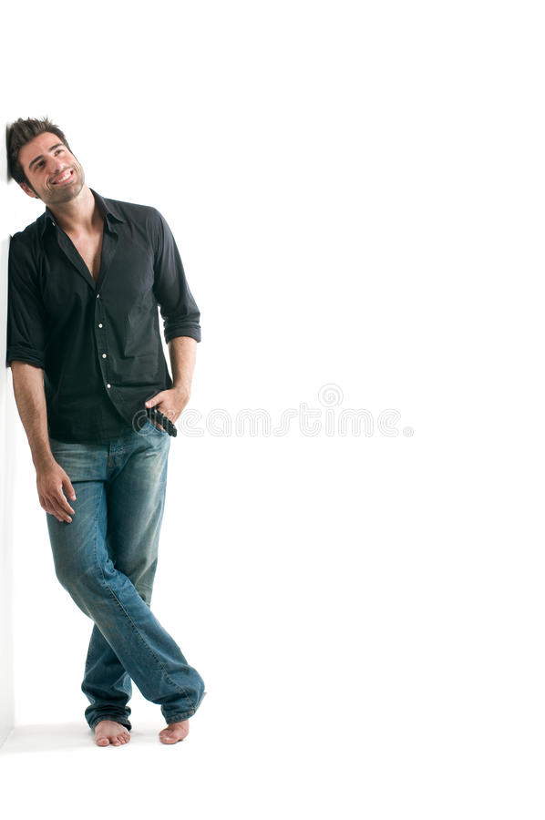 Dreamy latin man. Looking up with copy space for your text isolated on white background