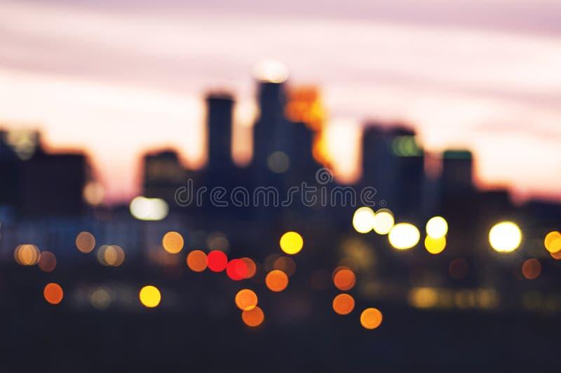 Dreamy Minneapolis. Street Lights with Minneapolis Skyline stock photography