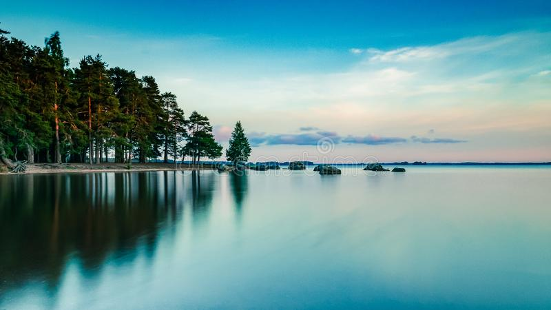 Dreamy nordic midsummer landscape stock photos