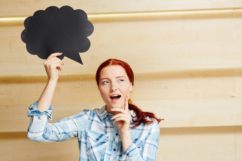 Dreamy pretty woman with speech bubble stock images
