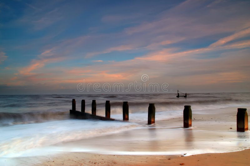 Download Dreamy Southwold Beach stock image. Image of ocean, clouds - 1405355