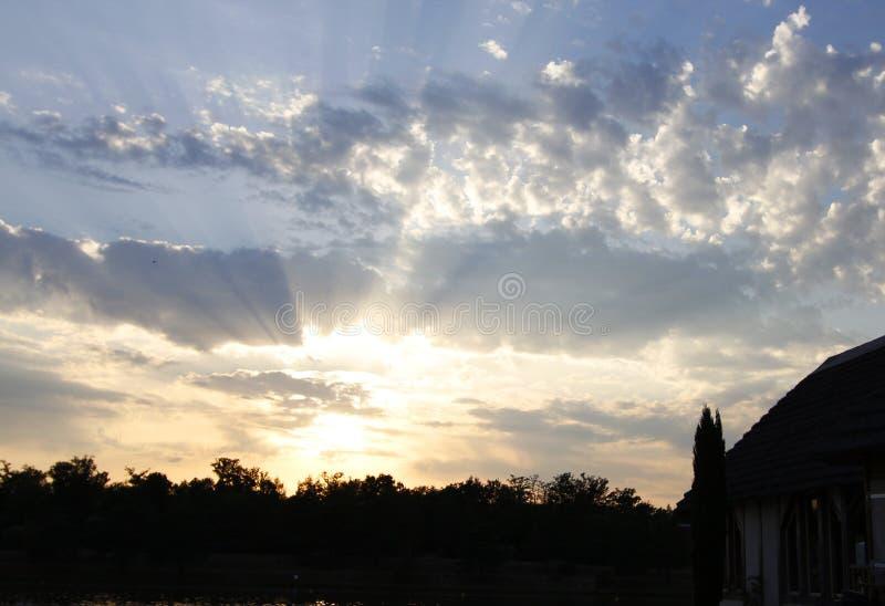 Dreamy sunset above lake alicourts france stock image