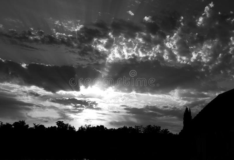 Dreamy sunset above lake alicourts pierrefitte france black and white royalty free stock images