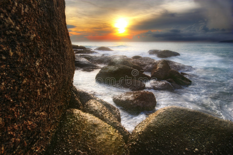Dreamy sunset of Karon. Soft and dream sunset of Karon beach. Phuket island, Thailand stock photos